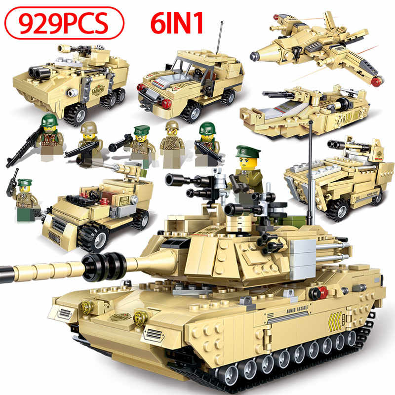 Military Abrams Main Battle Tank Building Blocks Compatible Legoing Police WW2 M1A2 Tank Figures Bricks Toys for Children Boys