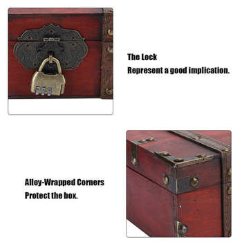 Vintage Wooden Jewerly Storage Box Decorative Treasure Case Jewelry Chest with Lock Jeweler Home Decoration