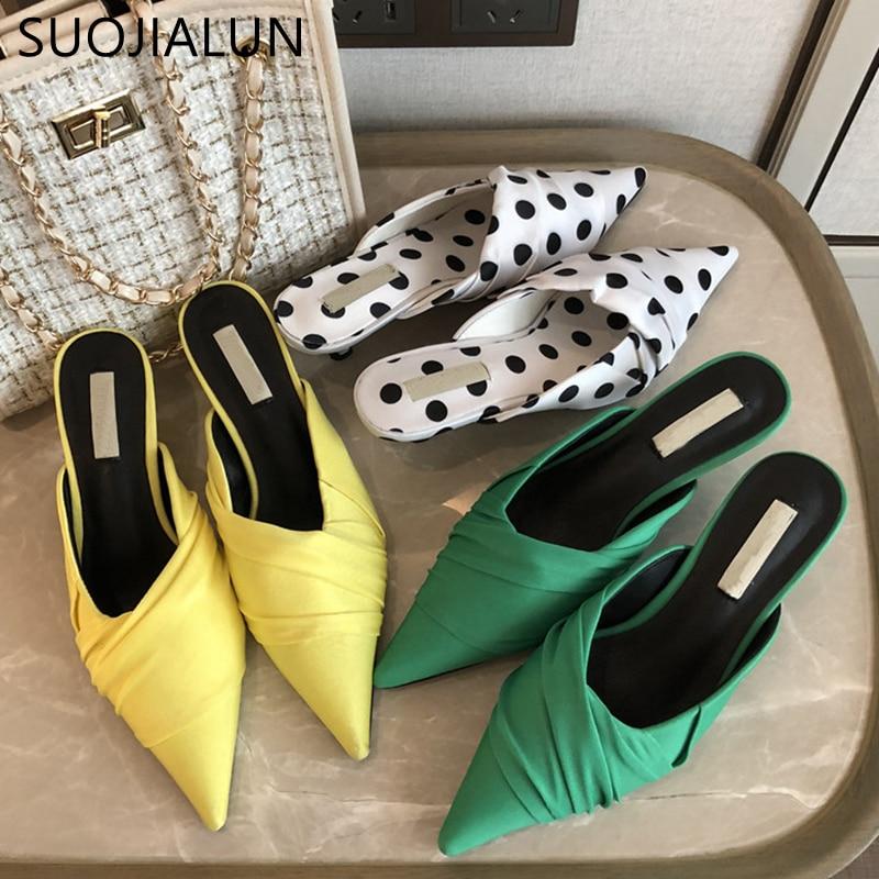 SUOJIALUN 2020 Fashion Women Mules Shoes Silk Kitten Butterfly-knot Sandal Ladies Elegant Pointed Toe Slip On Slipper Slides