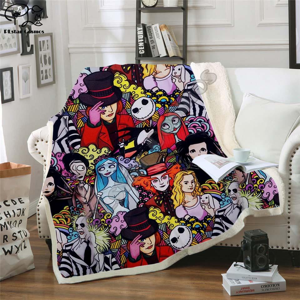 Plstar Cosmos Halloween horror movie Scream Team Zombie brid Blanket 3D print Sherpa Blanket on Bed Home Textiles style-1
