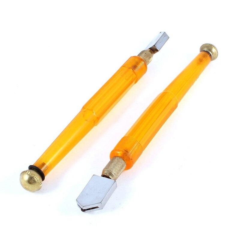6mm-12mm Wheel Blade Oil Feed Glass Cutter Handy Tool Clear Orange 2 PCS