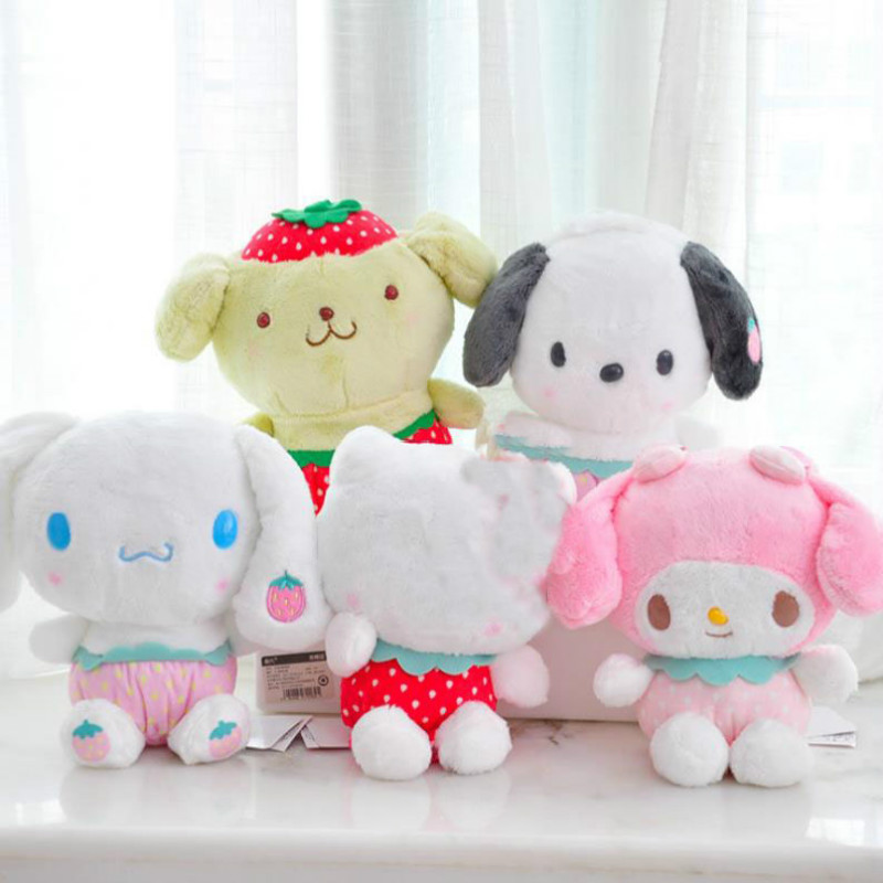 1pc Lovely Cartoon Sanrio Series Strawberry My Melody Pudding Cinnamoroll Dog Plush Doll Pillow Cute Stuffed Plush Toys Gift