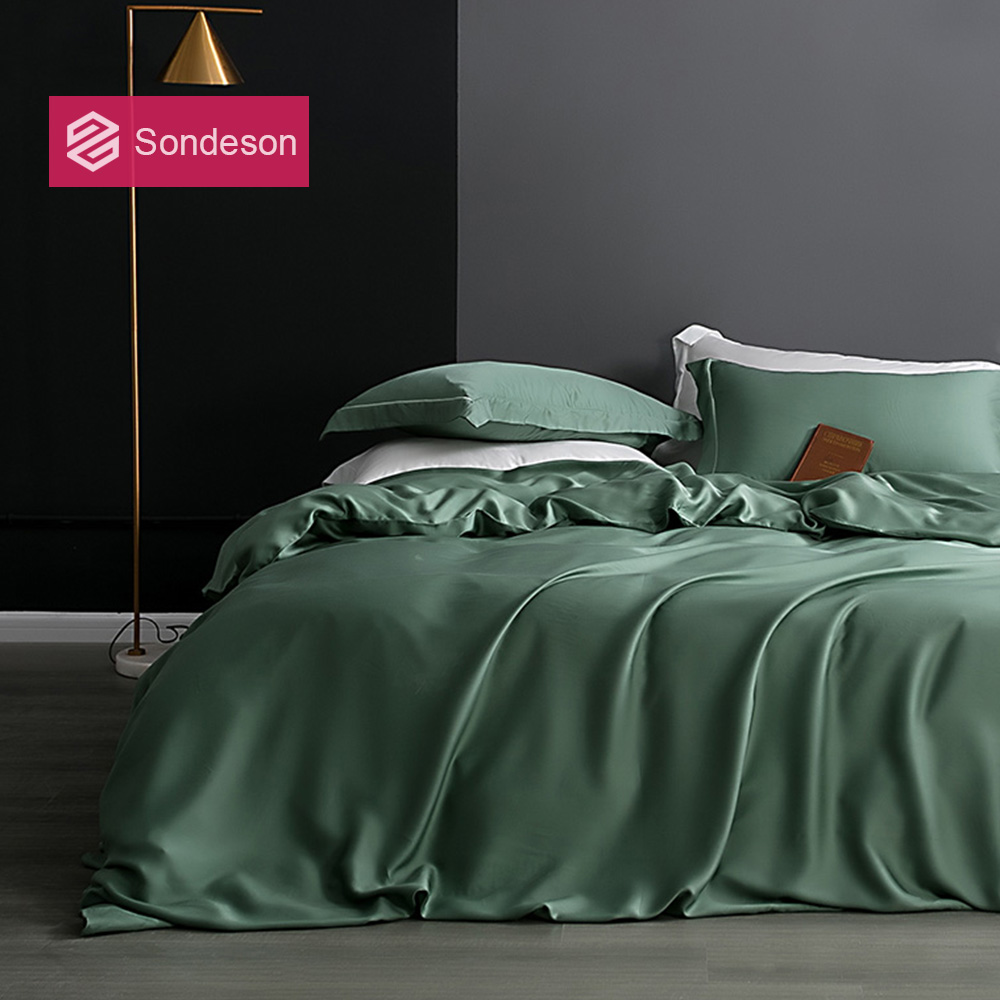 Sondeson Luxury 100% Silk Green Bedding Set 25 Momme Silk Healthy Skin Duvet Cover Set Flat Sheet Pillowcase Queen King Bed Set
