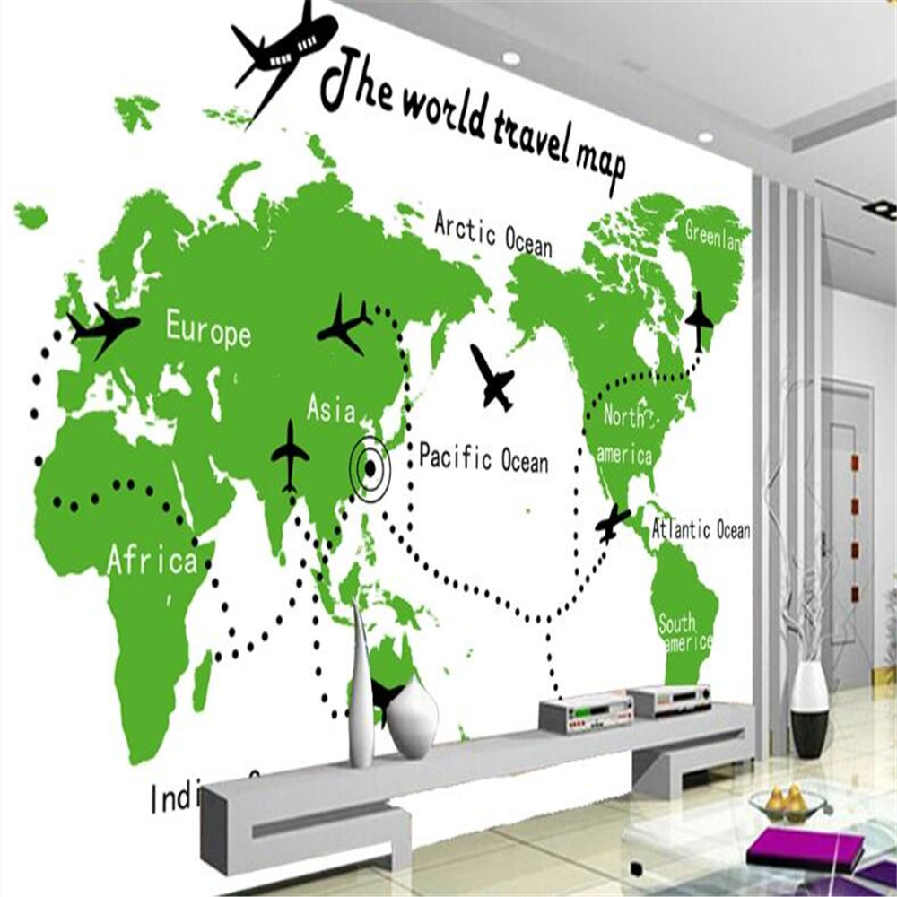 Milofi custom 3D world map aircraft seven continents five ocean tooling background wall wallpaper mural