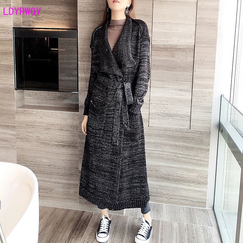 2019 Autumn And Winter New Korean Women's Fashion Lapel Long-sleeved Pockets With Knit Wild Casual Long Trench Coat