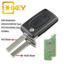 Bhkey для peugeot key 2 кнопки Автомобильный Дистанционный ключ