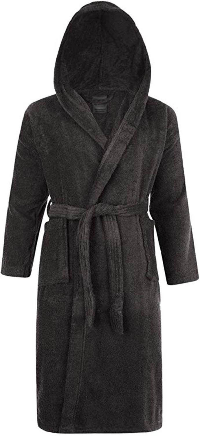 Ladies 100/% Cotton Terry Towelling Hooded Shawl Collar Bathrobe Dressing Gown
