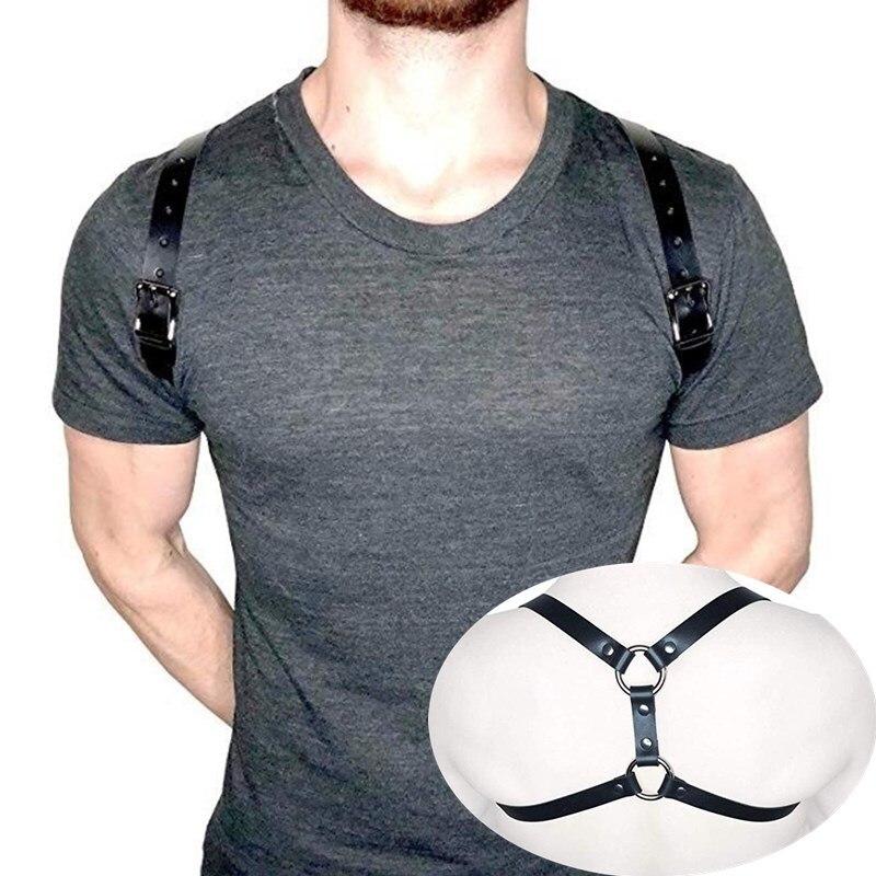 Фетиш мужские кожаные ремни регулируемые БДСМ гей тело Бондаж Клетка грудь плечевой ремень рейв гей одежда для секса