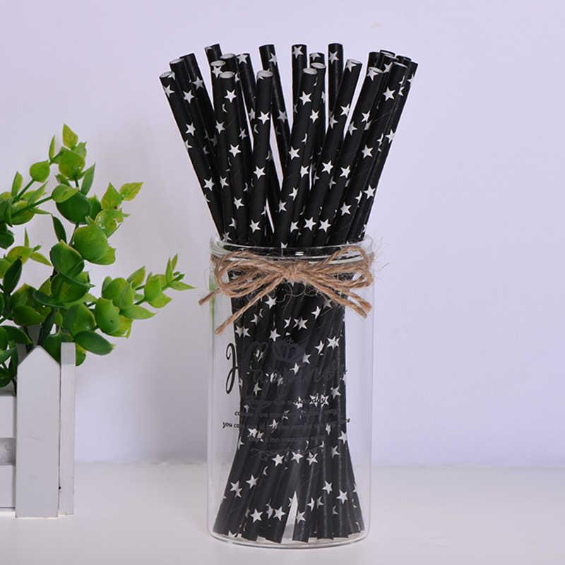 สีดำทองดื่มหลอดกระดาษเค้กเทียน Topper สำหรับ Baby Shower Wedding ปาร์ตี้ฮาโลวีนวันเกิดคริสต์มาส Decorati อุปกรณ์