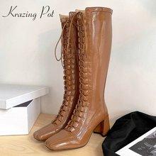 Ботинки krazing pot из эластичной кожи на шнуровке с квадратным