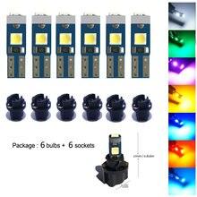 6x Car Led 74 T5 Wedge Bulb Dashboard Gauge Cluster LED Light T5 Instrument Panel LED Indicator Lamp Bulbs for Volvo V70