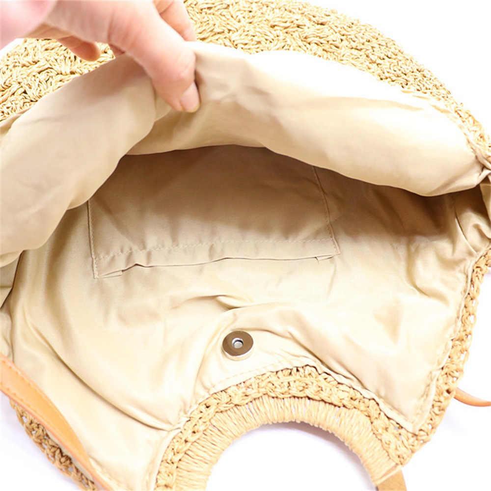Nuevos bolsos de paja para mujer, bolso de mano de gran capacidad, bolso de hombro ovalado a la moda para mujer, bolso de paja de tejido diferente con superficie AB