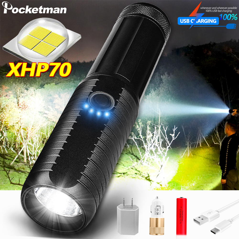 Super Powerful XHP70 LED Flashlight LED Torch USB XHP50 Zoomable Tactical Torch 18650 26650 Rechargeable Battery Deal Camping