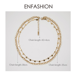Image 4 - ENFASHION بوهو متعدد الطبقات ستار سلسلة المختنق قلادة المرأة الذهب اللون الفولاذ المقاوم للصدأ القلائد مجوهرات الأزياء keting P193035