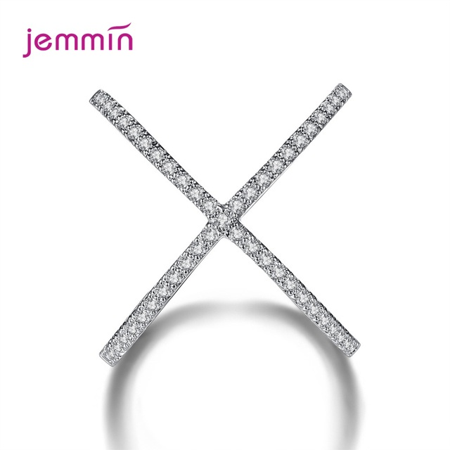S925 Silver Jewelry X Crossing Finger Ring  Female Fashion Micro Paved CZ Crystal Rings Infinity Sign Women Silver Rings Party 2