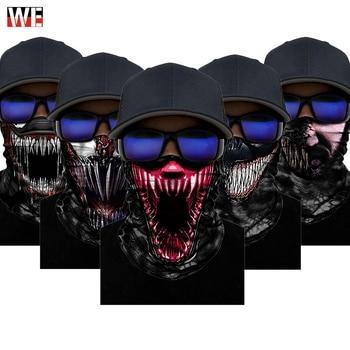 WOSAWE Motorcycle 3D Seamless Bandana Balaclava Anti-UV Magic Scarf Neck Face Mask Skull Skeleton Shield Headband Windproof Mask