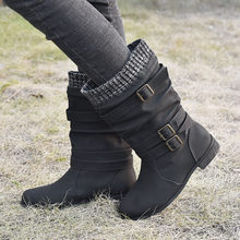 2020 New Women's Shoes Boots Leather Flats Round Toe Low-heeled Buckle Strap Western Middle Tube Boots Botas Dropshipping(China)