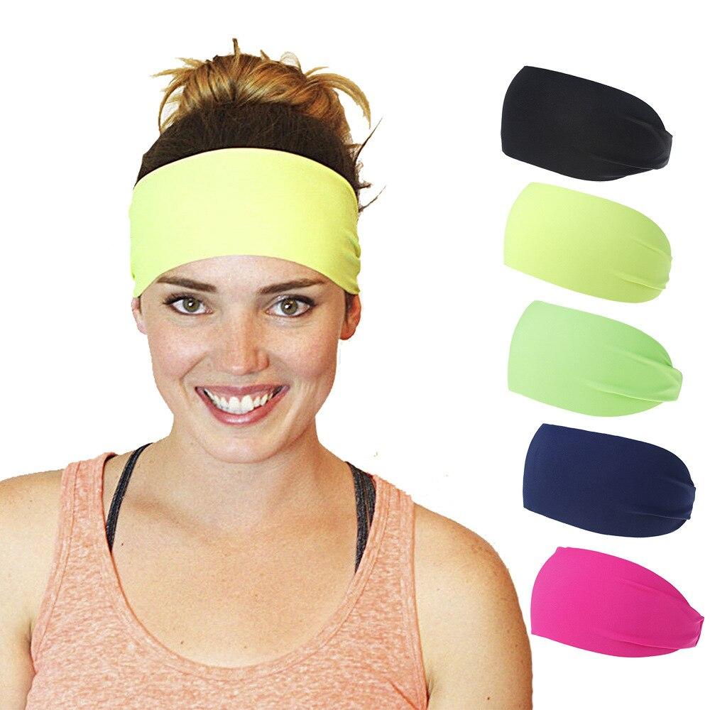 Ruoshui Woman Men Spring Summer Hairband Solid Elastic Hairband Sport Bandage Unisex Turban Fashion Hair Accessories Bandanas