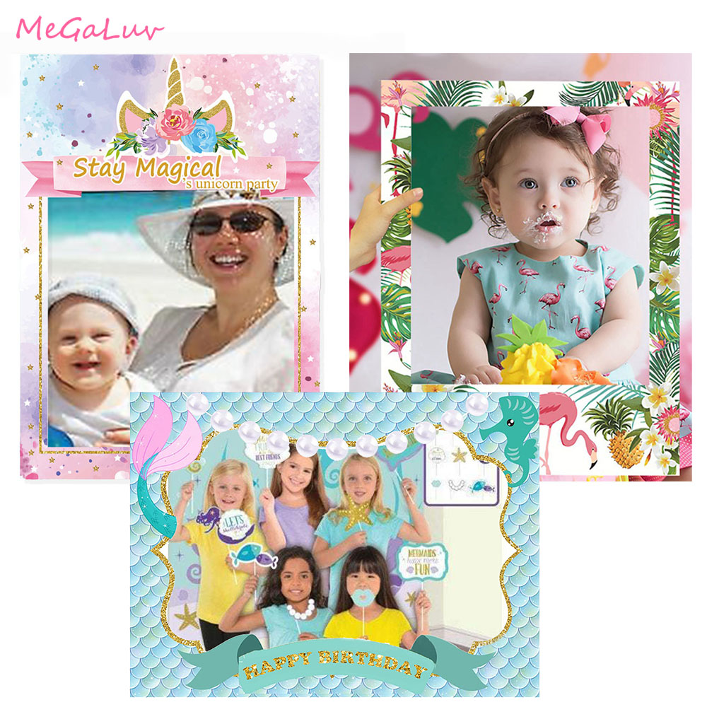 Unicorn Mermaid Flamingo Theme Photo Booth Props Frame Birthday Party Supplies Baby Shower Bridal Shower Wedding Decorations
