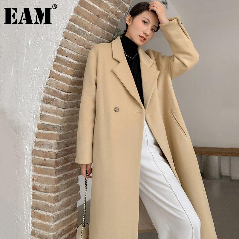 [EAM] Loose Fit Khaki Long Bandage Woolen Coat Parkas New Notched Collar Long Sleeve Women Fashion Autumn Winter 2021 1DD3695