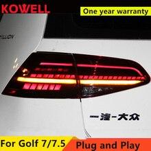 Estilo do carro para vw golf 7 golf 7.5 lanterna traseira, 2013 2018 mk7 mk7.5 led drl + freio + sinal dinâmico + luz de reversão