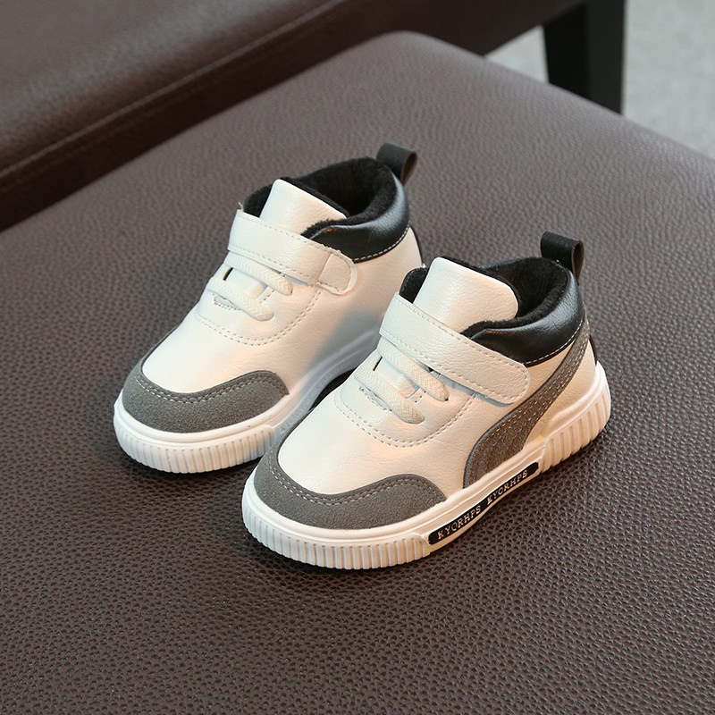 2019 New Fashion Baby Casual Shoes Kids Autumn Boy Sneakers Shoe Toddler Pu Leather Children Shoe Black White 1 2 3 4 5 6 Years