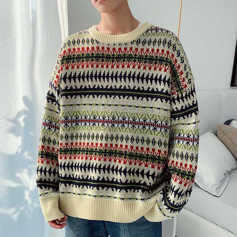 Sweater Men Fashion Printing Retro Casual O-neck Knit Pullover Men Streetwear Loose Cotton Long-sleeved Sweter Male Clothes