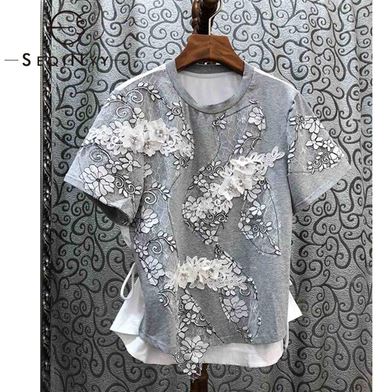 Женская футболка из хлопка SEQINYY, Новинка лета весны 2020, роскошный кружевной топ с короткими рукавами и вышитыми цветами и бусинами