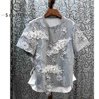 SEQINYY Cotton Female T Shirt 2020 Summer Spring New Fashion Design Women Luxury Lace Embroidery Flowers Bead Short Sleeve Top