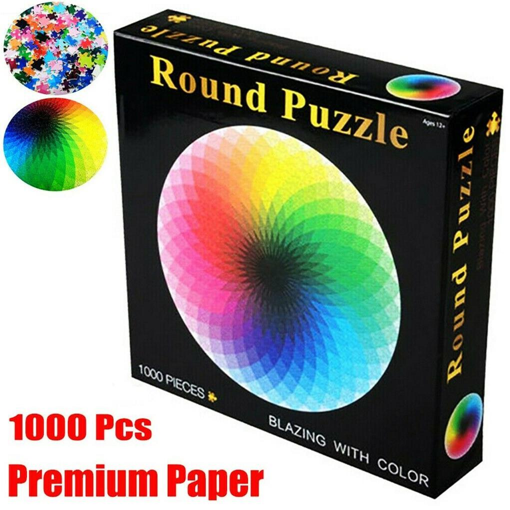 1000 Pcs/Set Jigsaw Rainbow Round Geometrical Photo Puzzles Toys Adult Kids DIY Educational Reduce Stress Jigsaw Paper Toy