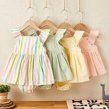 Neue Neugeborenen Baumwolle Fliegen Sleeve Kleid Overall Koreanische Japan Stil Sommer Prinzessin Kleidung Ein Stück Baby Mädchen Bodys