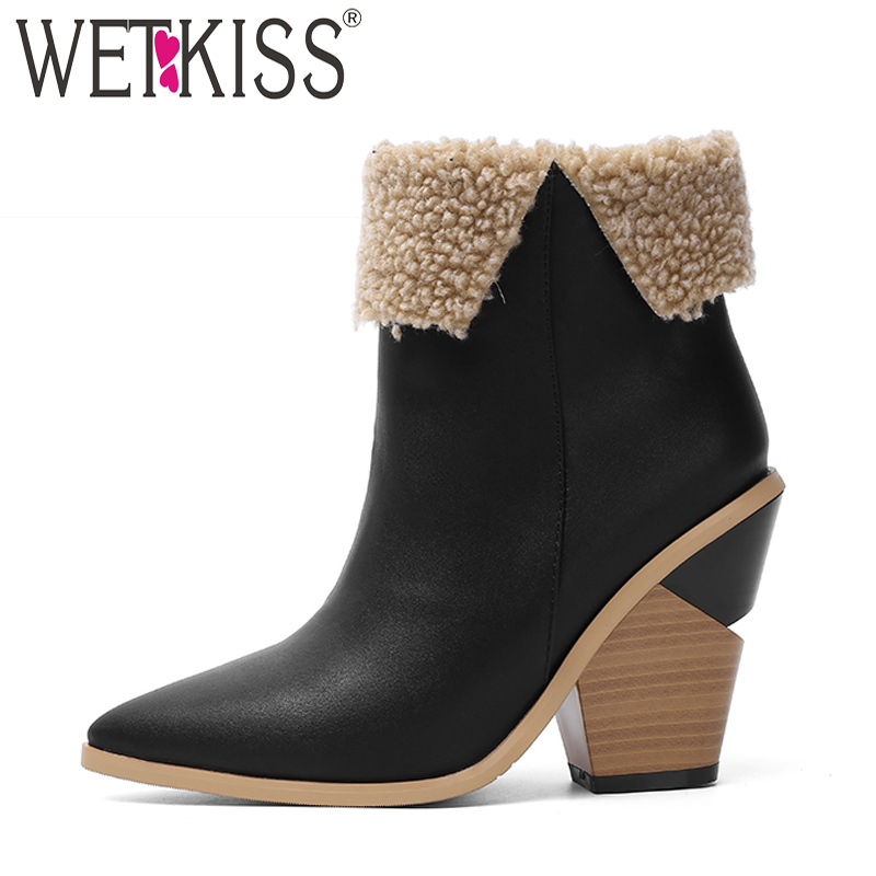 WETKISS High Heels Wood Boots Women Western Ankle Boot Female Pu Warm Shoes Ladies Pointed Toe Shoes Women Winter 2020 New