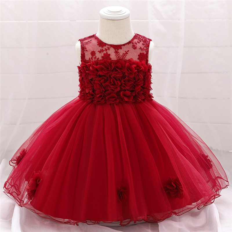 Toddler Baby Girl Infant Princess Lace Tutu Dress Baby Girl Wedding Dress Kids Party Vestidos for Baby 1 Years Birthday Wear