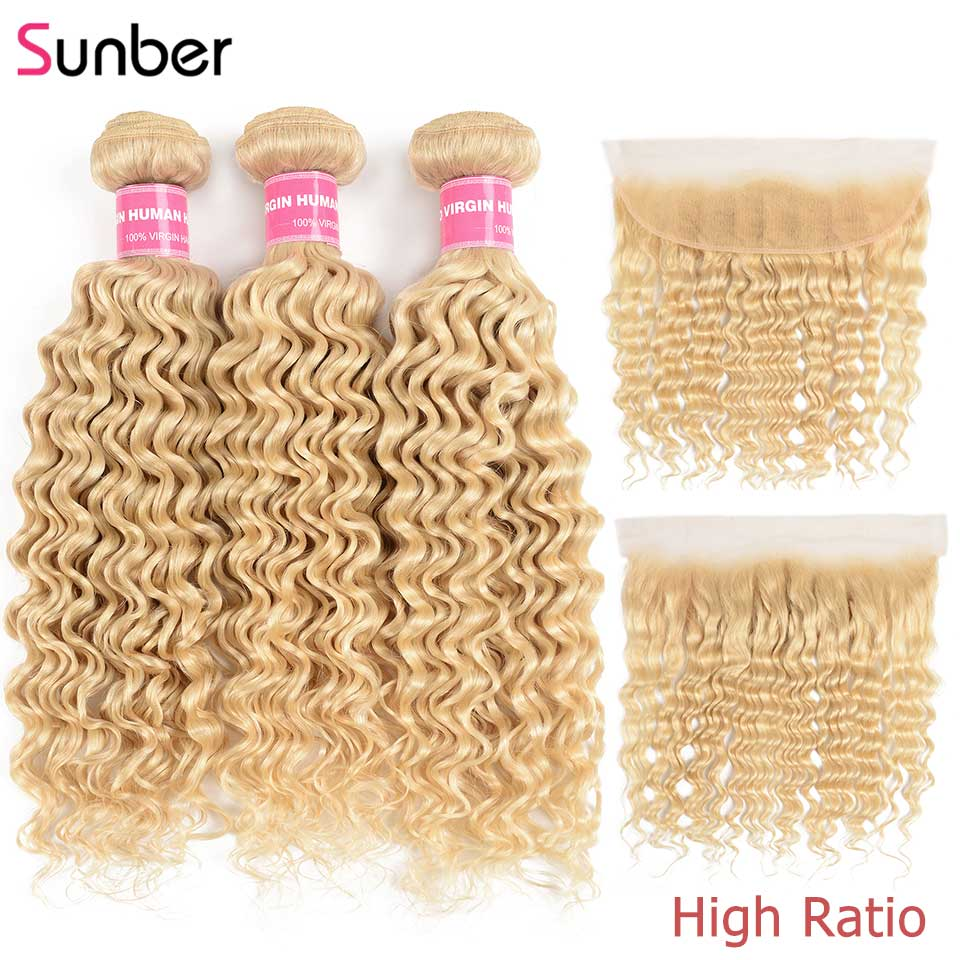 Sunber Hair Peruvian Blonde Deep Wave Bundles With Frontal High Ratio Remy Human Hair Extension 613 Bundles With Frontal image