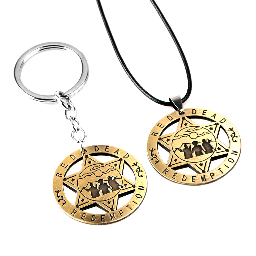 Game Red Dead Redemption 2 Keychain Necklace Metal Keyring Chain Pendant For Men Car Women Bag Jewelry Keyring Holder