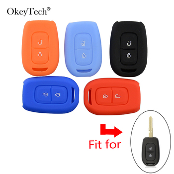 OkeyTech 2 Buttons remote key silicone car key cover case shell protector fob for Renault Duster dacia scenic master megane image