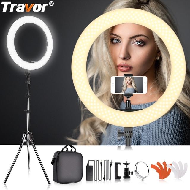 Travor 링 램프 삼각대와 18 인치 링 라이트 dimmable 5500k LED 라이트 유튜브 ringlight hoops 라이트 사진 ligting