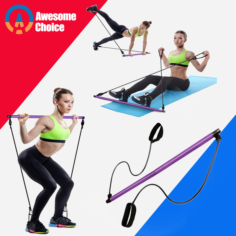 Yoga Resistance Bands Pilates Stick Bodybuilding Crossfit Gym Rubber Tube Elastic Bands Fitness Equipment Training Exercise