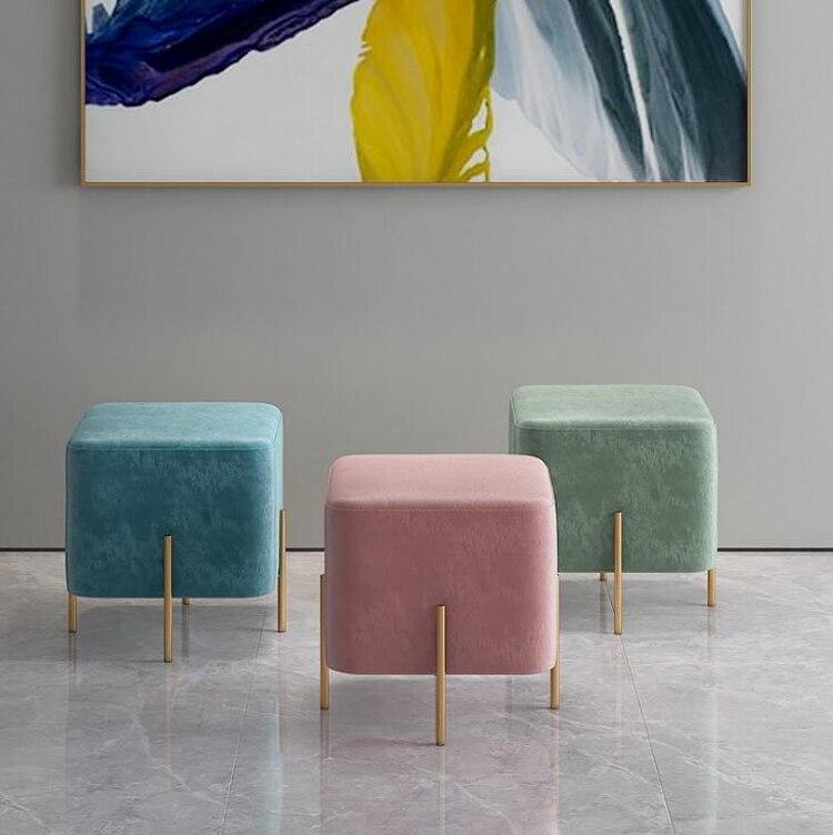 Nordic modern ottoman living room small sofa stool single stool mini pouf home doorway bedroom shoe stool 43x43x42cm