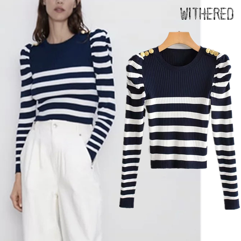 Withered 2019 Winter Sweaters Women England Office Lady Navy Striped Gold Buttons Puff Sleeve Vintage Sweaters Women Pull Femme