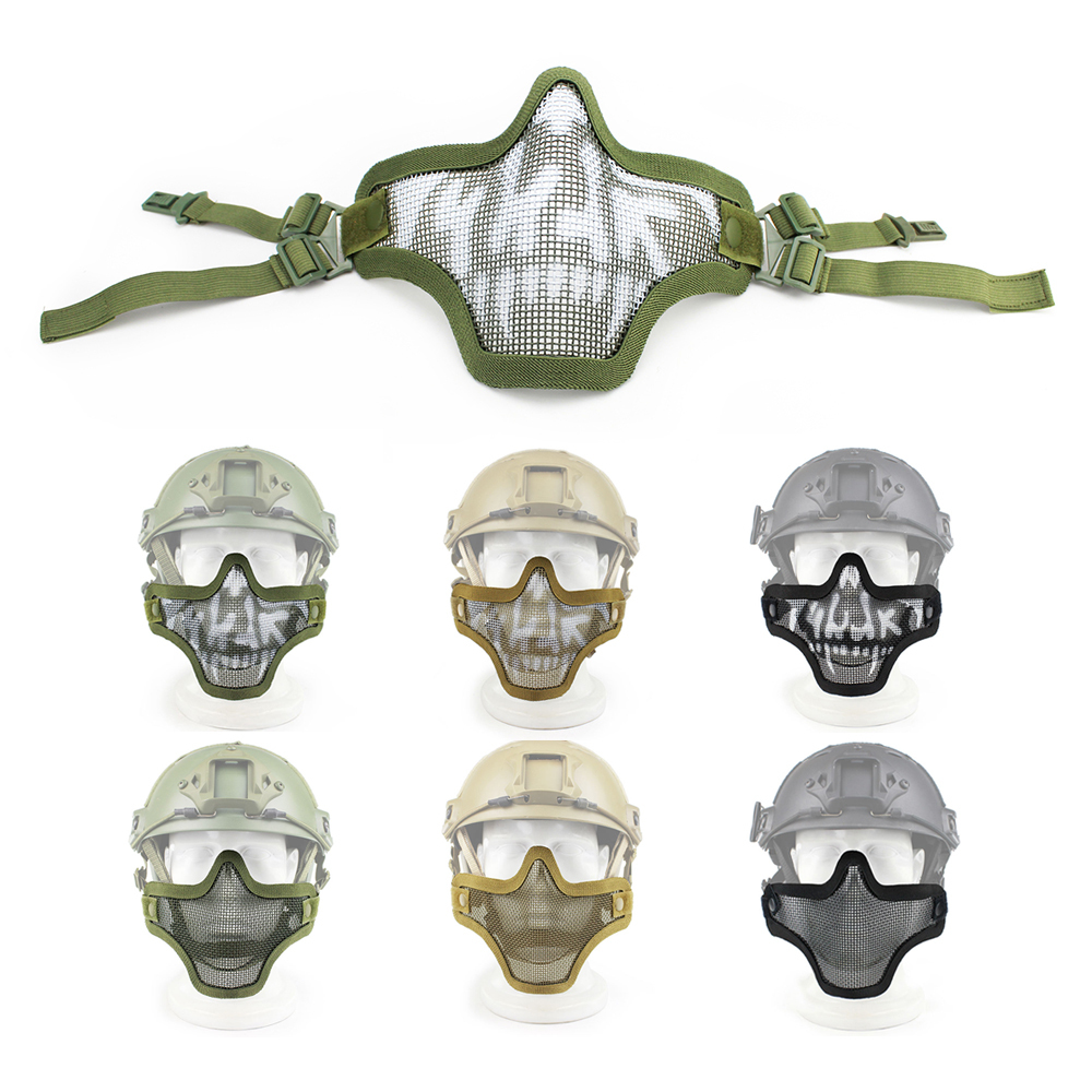 Skull Half Face Tactical Mask Metal Adjustable Strike Mesh FAST Helmet Airsoft Military Combat Paintball Accessories