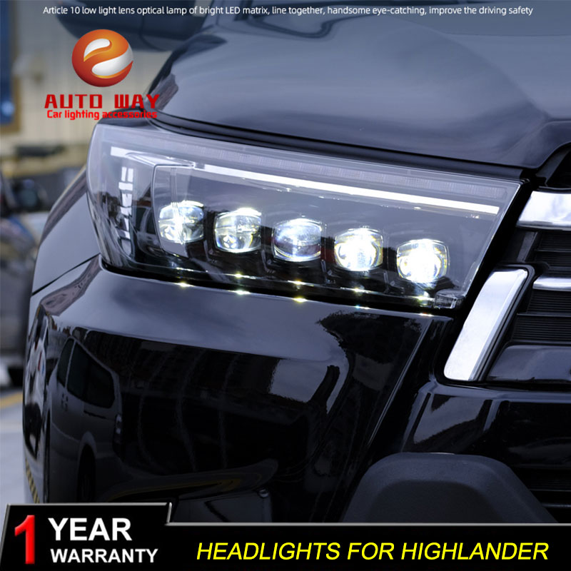 Автомобильный Стайлинг фара чехол для фары Toyota Highlander 2018 все светодиодный Toyota фара Highlander DRL светодиодный поворота объектива li ion аккумулятор