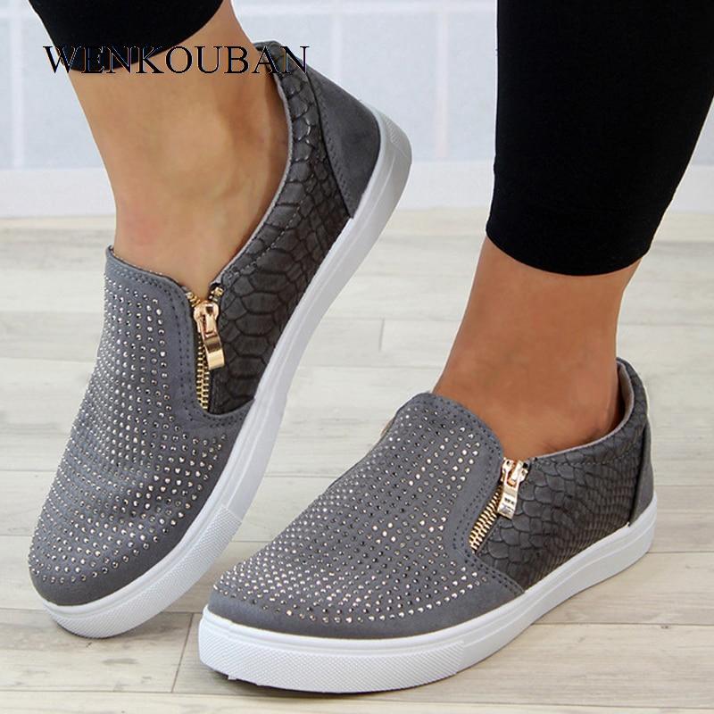 Platform Shoes Women Crystal Slip On Flat Loafers Female Wedge Shoes For Women Mocassin Zipper Glitter Flats Sapato FemininoWomens Flats   -