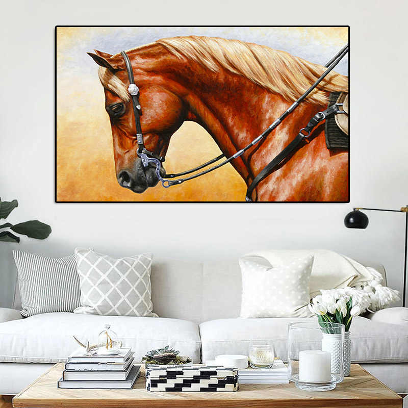 Canvas Painting Nordic Animal Print Oil Painting Running Horse Wall Pictures for living Bed Room Quadro Home Decoration Unframed