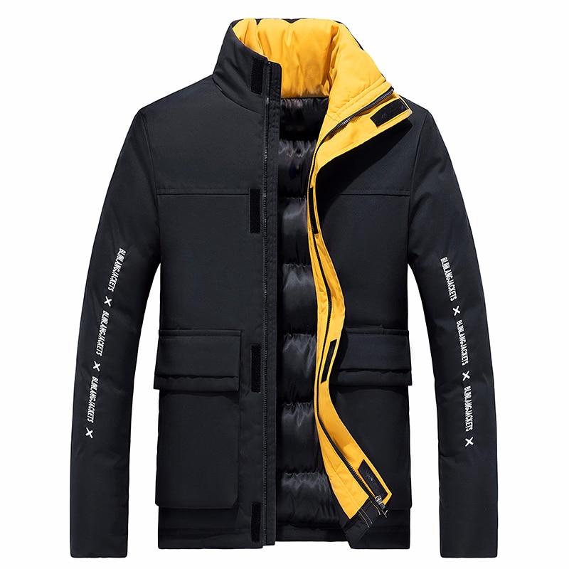 6XL Men 2019 Winter New Casual Thick Cotton Waterproof Pockets Parkas Jacket Men Fashion Outwear Windproof Warm Parka Coat Men