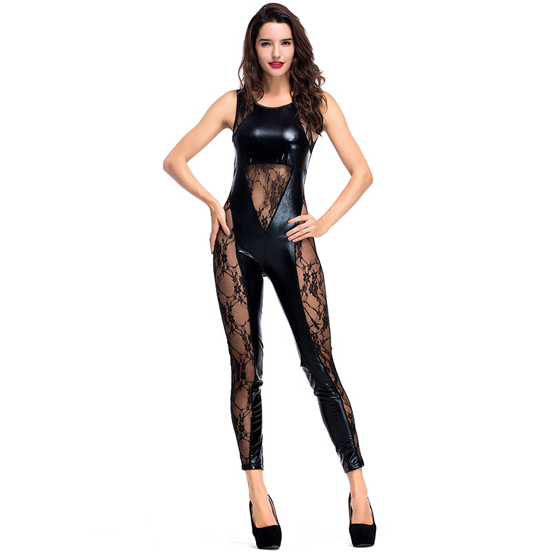 New PU Leather Jumpsuit Women Skinny Lace Mesh Patchwork Bodysuit Latex Catsuit Fetish Wear Sexy Pole Dance Lingerie Costume