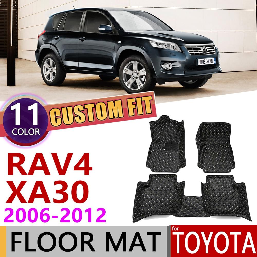 Custom Leather Car Floor Mats For Toyota RAV4 RAV 4 XA30 2006~2012 XA 30 5Seats Foot Pad Carpet Accessories 2007 2008 2009 2010