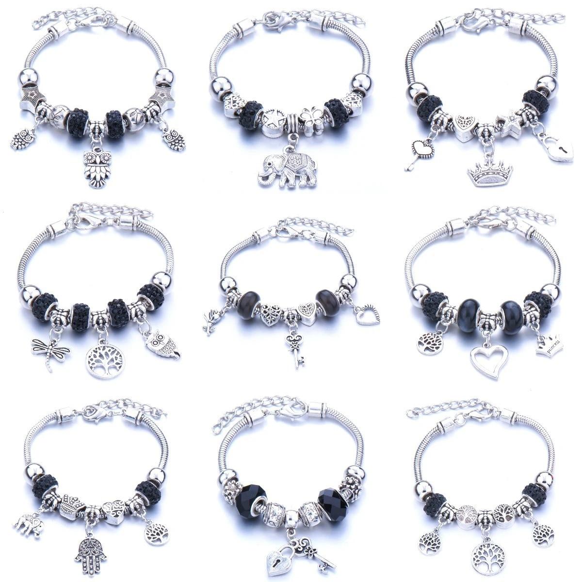 Vintage Black Tree Of Life Crown Charm Bracelets For Women Crystal Beads Pandora Bracelets Pulseras Mujer Charms Jewelry Charm Bracelets Aliexpress