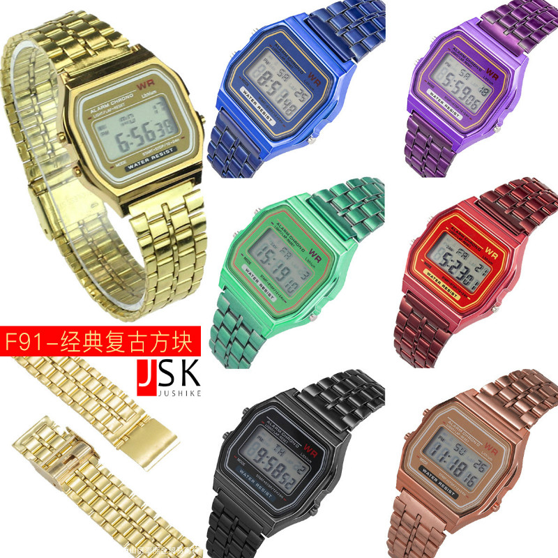 Square  Restoring Ancient Ways  Trend  Student Electronic Watch  Square  Alloy Belt Children  Watch-0