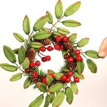 Праздник Рождество Красный Фруктовый Венок гирлянда дверь орнамент домашний декор элемент